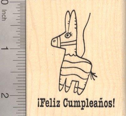 Amazon.com: Feliz Cumpleanos Pinata Rubber Stamp, Spanish ...