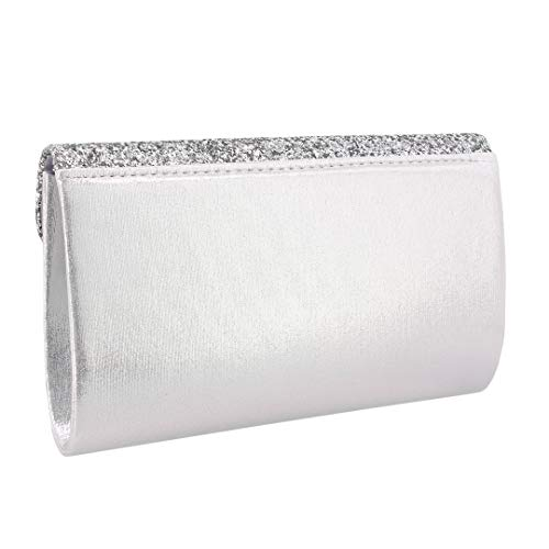 Flap with Bag Naimo Shiny Clutch Detachable Dazzling 01104 for Bag Silver Purse Party Wedding Evening Sequin Womens Chain qttxRF