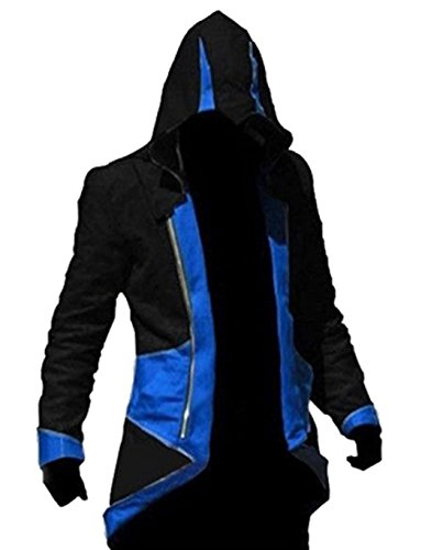 Assassin's Creed 3 Cosplay Costume (TEENTAGE Assassin's Creed 3 Connor Kenway Hoodie Jacket,Black and Blue,Kid-Large)