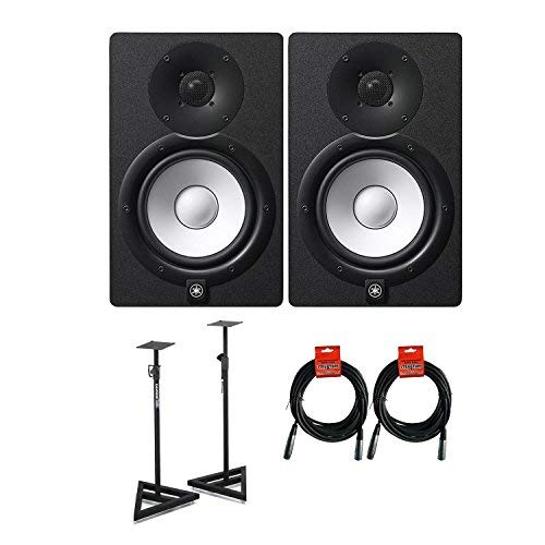 Yamaha HS7 2 way bass reflex bi amplified nearfield Powered Active Studio Monitors Pair Bundle in Black With Studio Monitors Stands and SMC20 20' XLR Microphone ()