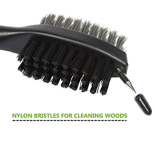 Pack of 2 Golf Club Brush and Groove Cleaner Brush Brushes in 7 for Golf  Shoes/Golf Club/Golf/Golf Groove, Attach 2 feet Retractable Zip-line  Aluminum