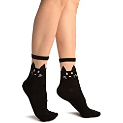 Black With Cat Face Invisible Top Ankle High Socks - Socks