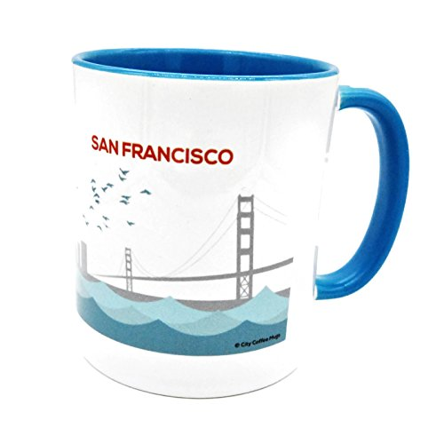 ((8 8/18) CCM-02 San Francisco Coffee Mug Golden Gate Bridge Blue Handle & Interior 11oz Collector Series)