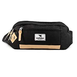 414app%2B31CL. SS300  - Outdoor fanny pack by Nomalite   Black waterproof XL waist pouch for men & women with leather frame and anti-shock XXL pocket for smartphone/iphone. Ideal bumbag for travel, ski, hiking, festival.