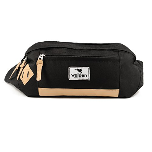 414app%2B31CL. SS500  - Outdoor Fanny Pack by Nomalite | Black Waterproof XL Waist Pouch for Men & Women with Leather Frame and Anti-Shock XXL Pocket for Smartphone/iPhone. Ideal bumbag for Travel, ski, Hiking, Festival.