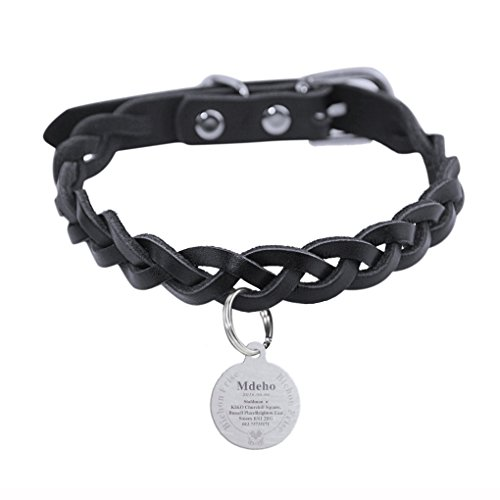 Personalized Safe Black Genuine Leather Knit Adjustable Pet Collar,Charm Titanium Steel Engraved Pet Name,Address&Phone Number Customized Pet ID Tag Engraving Plate Neck Chain Harness for Dogs Cats