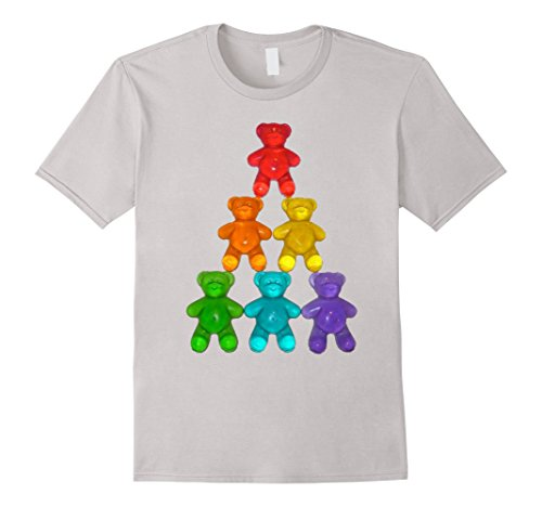 Men's Chewy Bear Shaped Gummy Candy T-Shirt Delicious Fruity Treat Medium Silver (Gummy Bear Shirt compare prices)