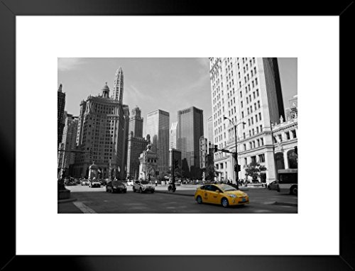 - Poster Foundry Yellow Taxi Cab Wrigley Building Chicago Illinois Photo Art Print Matted Framed Wall Art 26x20 inch