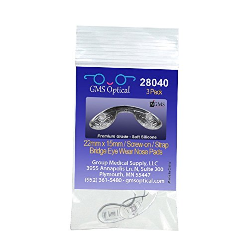 GMS Optical Nose Pads for Eyeglasses - Strap Bridge Screw-In Medium 22mm x 15mm - Nose Bridge Glasses