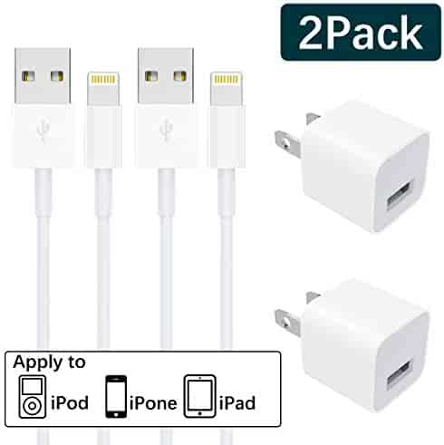 iPhone Charger, MFi Certified 2-Pack Charging Cable and USB Wall Adapter Plug Block Compatible iPhone X/8/8 Plus/7/7 Plus/6/6S/6...