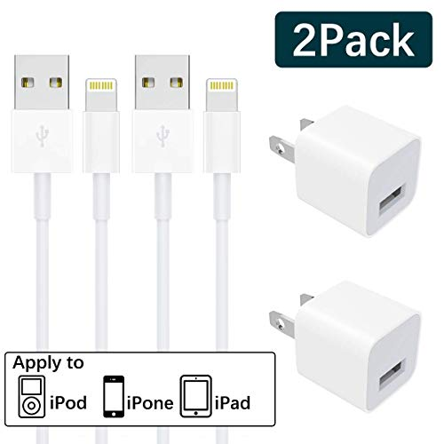iPhone Charger MFi Certified 2-Pack Charging iPhone Cable and USB Wall Adapter Plug Block Compatible iPhone X/8/8 Plus/7/7 Plus/6/6S/6.