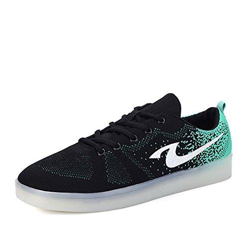 LED Luminous Sneakers Men & Women USB Charging Light Colorful Sport Shoes ?Black 45/14 B(M) US Women / 10.5 D(M) US (Black Strappy Girls Costumes Heel Shoes)