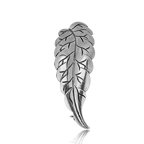 site Feather Brooch Fashion Classic Tree Leaf Pins Nature Jewelry (Antique Silver) ()