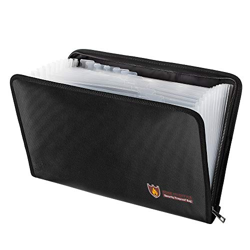 MDROKUN Fireproof Expanding File Folder Important Document Organizer with A4 Size 13 Pockets Zipper Closure Folder Organizer Non-Itchy Silicone Coated Fireproof Document ()