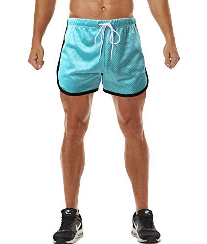 1970s Mens Short - Ouber Men's Causal Sport Shorts Beachwear Homewear (A-Sky Blue,L)
