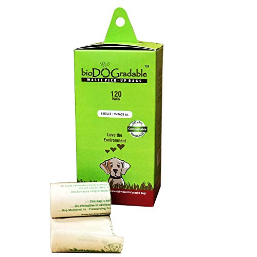 120 Dog Poop Waste Bags - Biodegradable Compostable Leak Proof and Tear Resistant - Vegetable Based Environmentally Friendly Pet Waste Bag - Holds Up to 4 Pounds