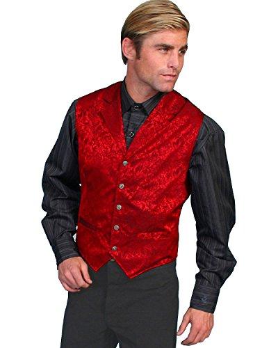 (Scully Wahmaker Men's Wahmaker Silk Floral Single Breasted Vest Red)