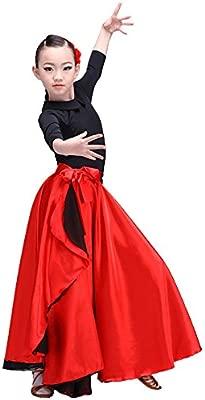 LOLANTA Falda De Baile Flamenco con Cordones En Rojo Satinado con ...