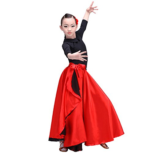 Girls Red Spanish Flamenco Dance Skirt Latin Ballroom Dancing Costume Satin Gypsy Dress (360 Degree, -