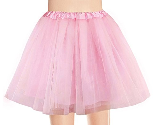 V28 Women's, Teen, Adult Classic Elastic 3, 4, 5 Layered Tulle Tutu Skirt (One Size, 4Layer-LightPink) -