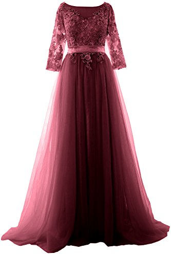 Gown Formal Lace Half Dress Maxi Elegant Sleeve Weinrot MACloth Prom Tulle Evening qHvxZ46ywy