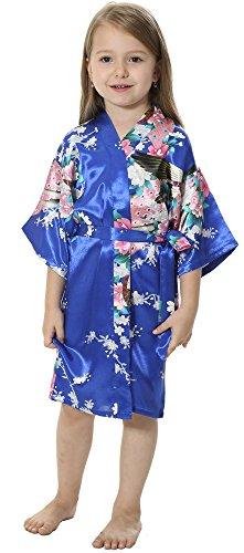 JOYTTON Girls' Satin Kimono Robe For Spa Party Wedding Birthday (4,Royal Blue) - Blue Girls Robe