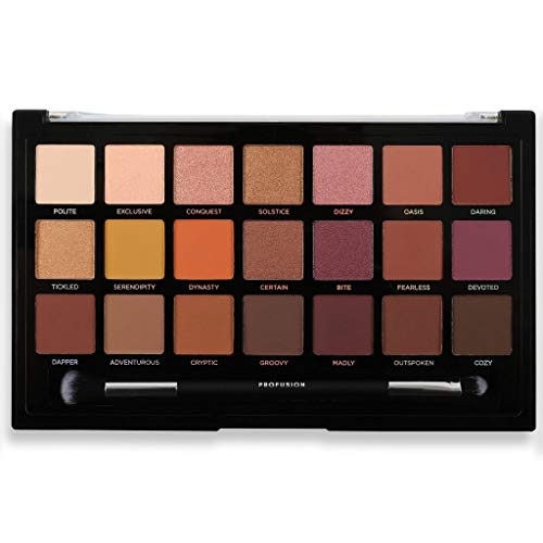 Profusion Cosmetics - 21 Shade Eyeshadow Palette Collection & Brush, Siennas