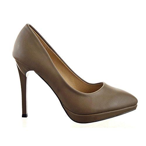 Sopily - Zapatillas de Moda Tacón escarpín Decollete Stiletto decollete Tobillo mujer Moderno 11 CM - Taupe