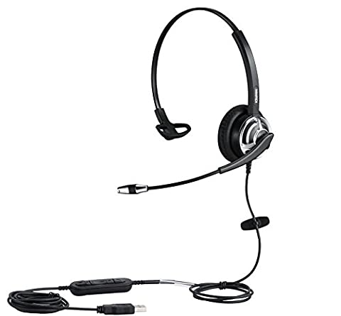 PC chat headphone USB Headset with Noise Cancelling Microphone For Call Center PC Phone Mac Skype Microsoft Lync With Voice Recognition Mic for Drangon With Volume Controller Mic Mute and Call (Usb Headset Noise Cancelling)