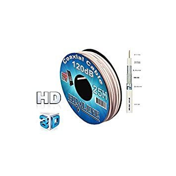 HD-LINE - Cable coaxial de antena (digital satélite, 120 dB, 25