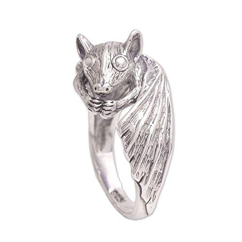 NOVICA .925 Sterling Silver Ring, Beautiful Bat