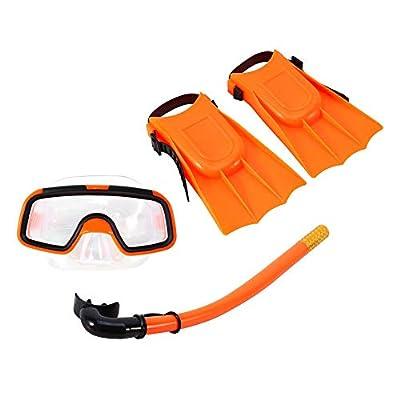 Snorkeling Packages Children Kids Swimming Diving Silicone Fins+Snorkel Scuba Eyeglasses+Mask Snorkel Orange Swim Set Fit for 3-4 Year Old