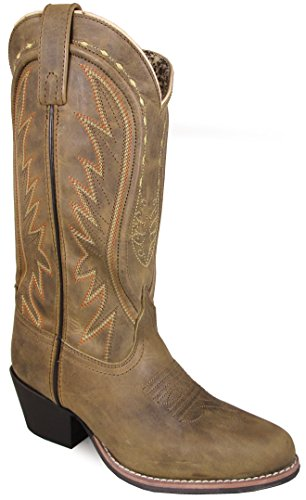 Smoky Mountain Women's Sienna Stitched Pull On Straps Narrow Round Toe Tan Western Boots 7M