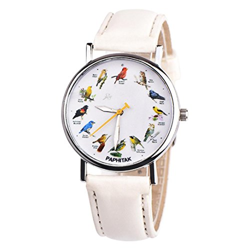 Watches for Women Men On Sale Clearance Fashion Casual Couple Retro Bird Design Leather Band Analog Quartz Wrist Watch (White) ()