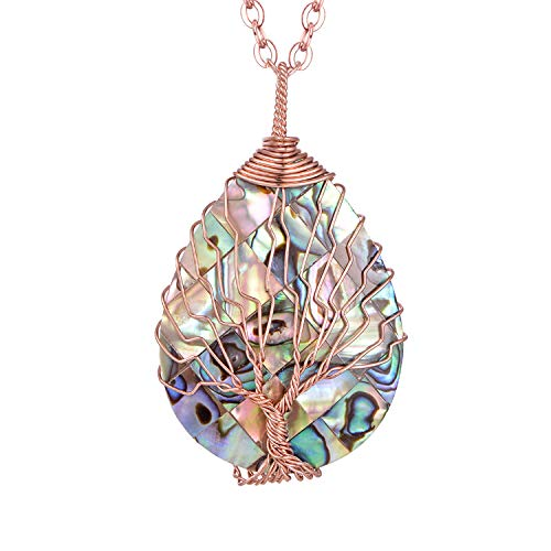 Tear Drop Abalone Tree of Life Necklace - Wire Wrap Abalone Shell Tree of Life Healing Crystal Pendant Necklace Fashion Rose Gold Plated Necklace Jewelry for Women