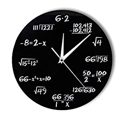 WANGXJ Engineering Numbers Math Wall Clock Math Equation Decorative Clock Pop Quiz Wall Art Science Gift for Math Geeks and Teachers