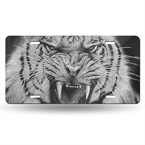 (NLXZD White Tiger Novelty License Plate American Vehicle License Plate)