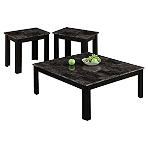Amazon.com: Monarch I 7988P Marble-Look Top 3-Piece Square Table ...