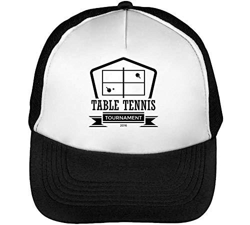 Sport Badge Table Tennis Tournament Gorras Hombre Snapback Beisbol Negro Blanco