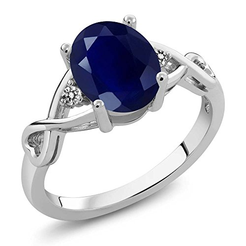 Gem Stone King Sterling Silver Blue Sapphire & White Diamond Women's Ring 2.56 Gemstone Birthstone (Size 5)