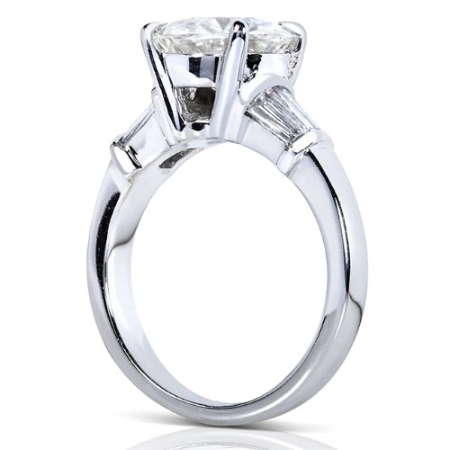 Round Moissanite Engagement Ring with Diamond 3 3/4 CTW 14k White Gold