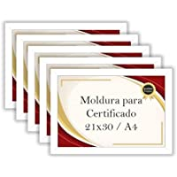 Kit 5 Porta Certificados Moldura A4 para Foto Decoração (Branco)