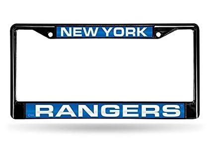 FCLB7601 Black Inc Rico Industries NHL Laser Cut Inlaid Standard Chrome License Plate Frame