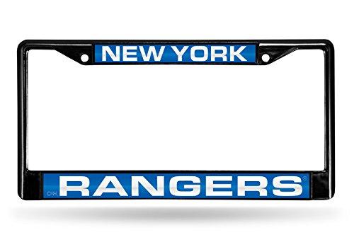 NHL New York Rangers Laser Cut Inlaid Standard Chrome License Plate Frame, Black - New York Rangers Laser