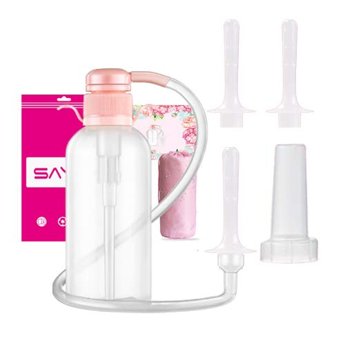 Douche for Women, Vaginal Cleansing System, Reusable Vaginal Douche, 600ml Capacity with 3 Nozzles,100% Safe Non-Toxic ()