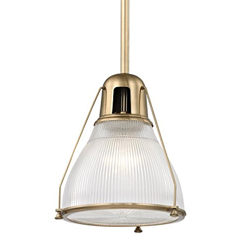 Haverhill Pendant Lighting - Hudson Valley Lighting Hudson Valley 7311-AGB Restoration One Light Pendant from Haverhill Collection in Brass-Antiquefinish 12