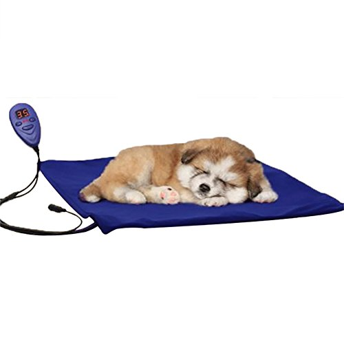 Pet Heating Pad for Dogs Cats with Temperature Controller DC 12V Soft Pet Electric Heat Pat Mat Warmer Blanket for Dog Pet to Keep Warm By Rely2016 (50 x 50cm, Blue-BS 240V) by Rely2016
