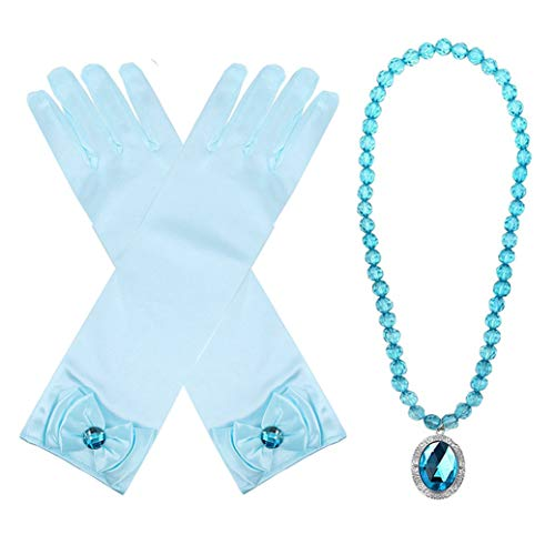 Yosbabe Princess Belle Elsa Aurora Dress up Accessories Party Favors 2 Pcs Gifts Set - Gloves and Glittering Necklace for Girls Kids (Blue) -