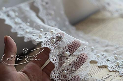 Yds Lace - Lace Craft - Width7cm, 2 yds/lot Cotton lace Embroidery Tulle Sewn Beads and Rhinestones Handmade lace mesh Dress - (Color: White)