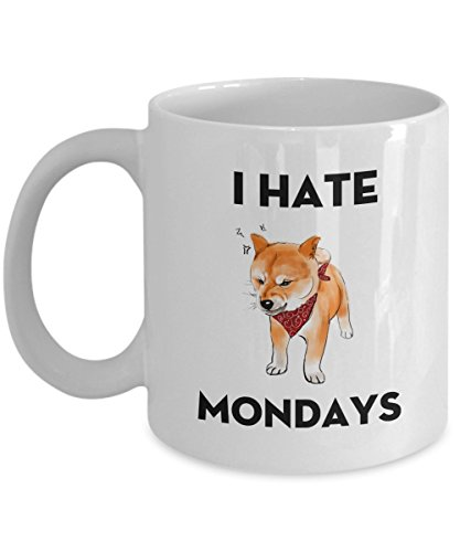 Shiba Inu Dog Lover Funny I Hate Mondays Love Friday - 11 OZ white Mugs for Major Tea, Coffee - Great Gift For women - Perfect Gift for Halloween - By ()